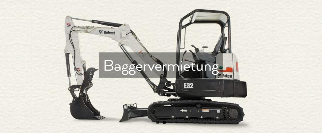 Bagger, Maschinenvermietung